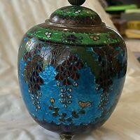 "Antique Japanese Cloisonne  Lidded Jar. 3 feet. 4.25""t, 3."" dia. Bright Foil"