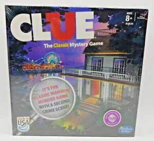 NEW 2013 Clue Board Game with 2 Versions Classic Mansion Game + Boardwalk Q1