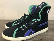 5edcb62acef Reebok Classic Sz 8.5 Black Purple High Tops Sneakers Shoes Fold Over Rare  Vtg