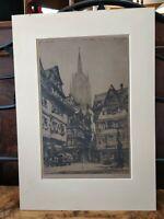 Original Luigi Kasimir Etching Signed Titled Frankfurt AM European Street Scene