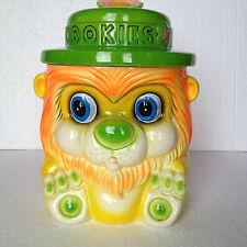Vintage Japan Cookie Jar Anthropomorphic Lion with big eyes Colour fluorescent