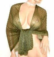 ÉTOLE VERT foulard transparent femme châle écharpe voilée cérémonie élégante A20