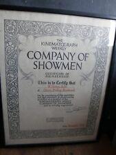 KINEMATOGRAPH CERTIFICATE,COMPANY OF SHOWMEN KINEMATOGRAPH  Early Cinema