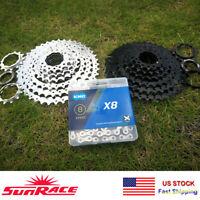 SunRace 8-speed 11-40T MTB Mountain Bike Cassette Sprocket 116 Links Chains
