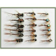 Pheasant Tail Nymph Trout Flies, 18 Pack, Tungsten, troutmaster & Flash Goldhead