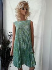 VTG 60s Betty Harford Above Knee Dress Lime Green Paisley Accordian Pleat P-S