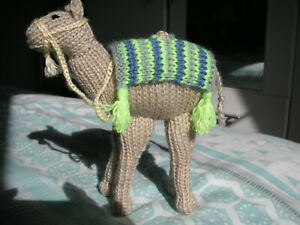 NEW Made in Uk Hand Knitted Nativity Baby Camel ~ 7 inches tall x 6 inches long