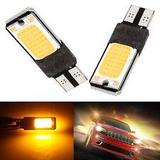 2x T10 168 194 2825 W5W 2886 Bulbs DC 12V Amber Yellow COB LED Car Light parts