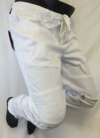 Mens Victorious Casual Twill JOGGER PANTS WHITE BIKER ZIPPERS NEW NWT JG882 NWT