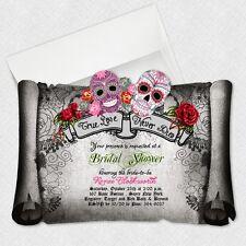 Sugar Skull Bridal Shower Invitations Day Of The Dead Wedding Invitation Gothic