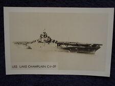 Old RPPC USS LAKE CHAMPLAIN Aircraft Carrier US Navy CV39 CVA USN Photo Postcard