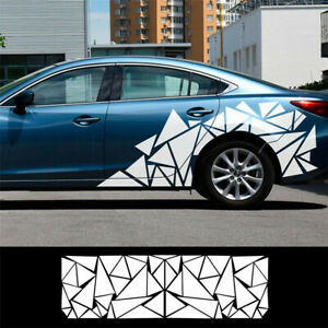 Car Body Side White Sticker Triangle Pattern Vinyl Decal Decor Trim UV-resistant