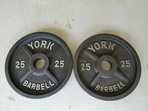 York Barbell Olympic Weight Plates 25lb Vintage Deep Dish