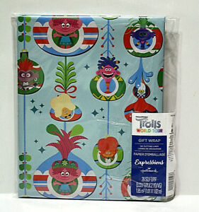 Dreamworks Trolls World Tour Christmas Wrapping Paper 20 Sq Ft Grid Back