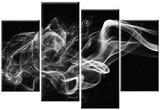 GRANDE bianco grigio nero fumo astratto tela art Foto Wall Art 4 Pannello di 100 cm