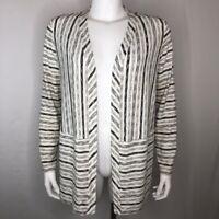 J. Jill Womens Cardigan Sweater White Black Stripe Long Sleeve Open Front S