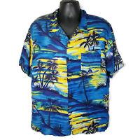 Ocean Current Hawaiian Shirt Size XL Blue Yellow Palm Trees Ocean