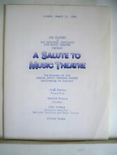 A SALUTE TO MUSIC THEATRE Playbill CHRIS GROENENDAAL NYC 1984