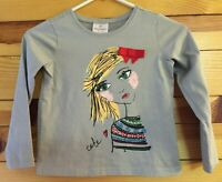 Hanna Andersson Girls EUC Gray Top  Girl with Red Bow on front Size 120  6X-7