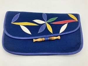 Vintage Womens Blue Envelope Bag Purse With Coloured Leather Patterns