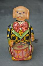 Vintage wind Up C.K Trademark Dog Playing Drum Litho & Celluloid Toy, Japan