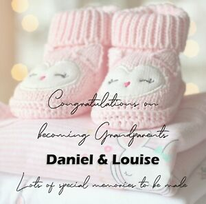 PERSONALISED NEW GRANDPARENTS CARD BIRTH OF GIRL GRANDDAUGHTER - JUST ADD NAMES