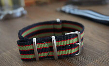 22mm G10 NATO Style Watch Strap - Black/Red/Green Classic Bond Goldfinger
