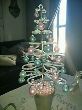 RACHEL ASHWELL SHABBY CHIC COUTURE PINK/BLUE BEADED CHRISTMAS XMAS TREE-RARE
