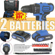 21V Electric Cordless Drill / Driver 2 Speed with Bits Set& 2 Batteries &Charger