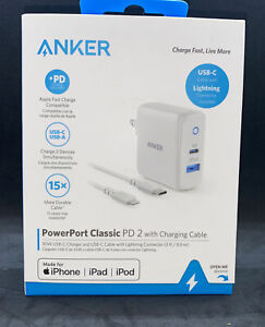 Anker Apple Fast Charge Power Port Classic PD 2 White 3' Charging Cable B2701