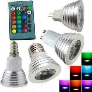 10X/1X E27 E14 GU10 RGB LED Light 3W 85-265V 16 Color Change Lamp W/ Remote