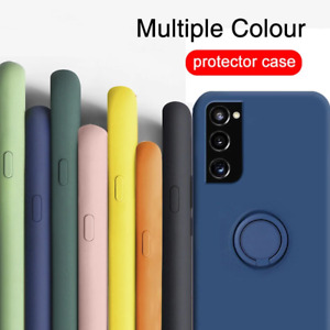 For Samsung Galaxy S21 S20 FE Note20 Liquid Silicone Ring Holder Soft Case Cover
