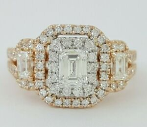 1.5 ct 14K Rose Gold Emerald & Round Cut Diamond Double Halo Engagement Ring