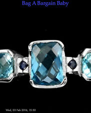 Sapphire & Topaz Ring Large Size P sterling silver & vermeil in 14 K white gold