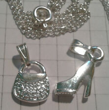 "SILVER PLATED {2 } PENDANTS"" BAG""+""SHOE"" EACH ON 16""+18""CHAIN NECKLACE  BOXED"