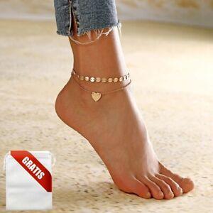 Fußkettchen Damen Gold Silber Herz Fußkette Fusskette Schmuck Geschenk Frauen
