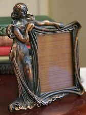 "ANTIQUE? 8.75""H COPPER FINISH ART NOUVEAU LADY PHOTO FRAME FITS 3"" x 5"" PHOTO"