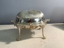 Antique Sign English Silver Plate Miniature Dome Roll Top Butter Chafing Dish Nr