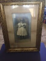 ANTIQUE VICTORIAN Photograph GIRL DRESS ART WOOD FRAME PHOTO Flowers BABY