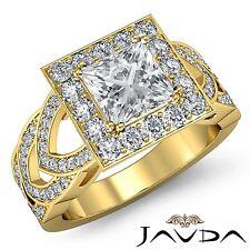 Halo Pave Set Princess Diamond Engagement Ring GIA F VS2 18k Yellow Gold 2.75ct