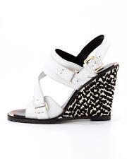 NEW $795 Derek Lam Gillis Calf-Hair-Wedge Sandal, White/Black US size 8.5
