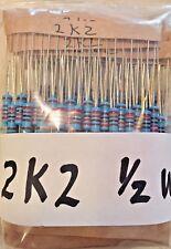 10 X 22k Ohm 12 Watt 1 Metal Film Resistors 2k2 Usa Seller