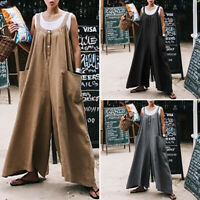 UK Womens Summer Dungaree Sleeveless Jumpsuits Playsuits Wide Leg Loose Pants