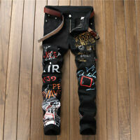 NEW Mens Gold Letter Printed Jeans Slim Fit Black Pants Straight Leg Trousers