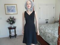 Ann Taylor Black Fit & Flare V Neck Sheath Dress Size 8P