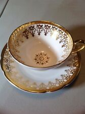 Stanley Fine Bone China England Tea Cup Set White with gold trim Collector