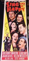 SING AND BE HAPPY! '37 A.MARTIN, J.DAVIS RARE ORIGINAL U.S. INSERT FILM POSTER!