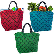Set of 3 Reusable Shopping Bags Large Burlap Grocery Farmers Market Tote Handles