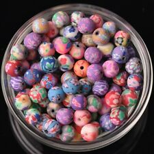 Wholesale 100pcs 8mm Round Polymer Clay Loose Beads lot Assorted Colors