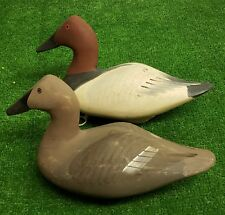 Pair of Capt Harry Jobes, Canvasback Duck Decoys, Hen and Drake, Sink box Decoys